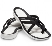 Crocs Swiftwater Webbing Flip Women Black/White