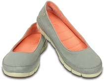 Crocs Women Stretch Sole Flat svetlo šedá