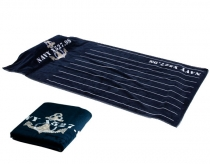 Blue navy deck towel with pillow