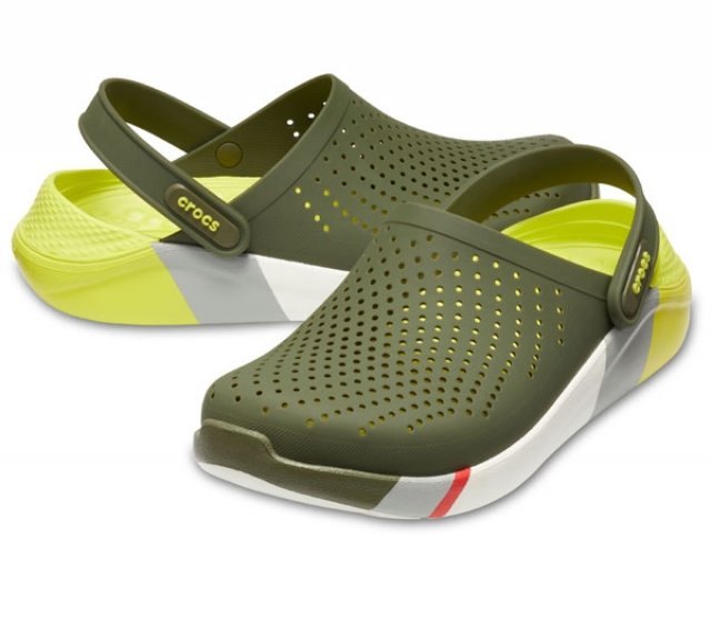 Crocs LiteRide Colorblock Clog Army Green/White
